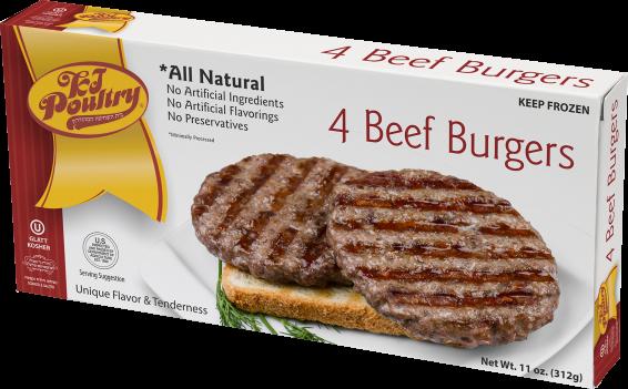 KJ Poultry Kosher Beef Patties (443)